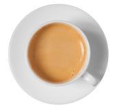 Opinión superior de la taza y del platillo de café aislada en blanco Imagen de archivo