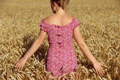 Opinión trasera la mujer joven que se coloca en wheatfield Fotografía de archivo libre de regalías