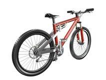 opinión trasera roja de la bici de montaña 3D Fotos de archivo libres de regalías