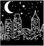 Opinião da cidade na noite: Vetor Imagens de Stock