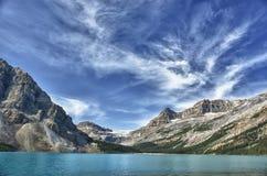 Opinião da geleira da estrada de Icefield do lago bow Foto de Stock Royalty Free