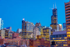 Opinião da noite de Chicago Foto de Stock Royalty Free