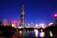 Opinião da noite de ShenZhen Fotos de Stock