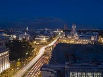 Opinião da noite do Madri Fotos de Stock Royalty Free