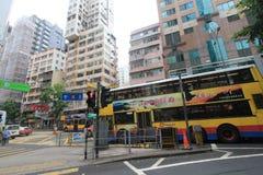 Opinião da rua da baía da calçada em Hong Kong Fotografia de Stock