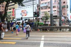 Opinião da rua da baía da calçada em Hong Kong Foto de Stock Royalty Free