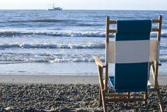 Opinião de cadeira de praia Fotos de Stock