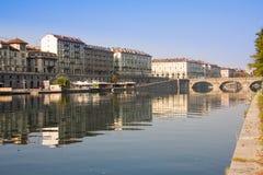 Opinião de Murazzi - Turin Foto de Stock Royalty Free