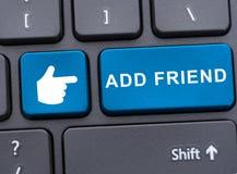 A opinião do close-up de adiciona o botão do amigo Foto de Stock Royalty Free