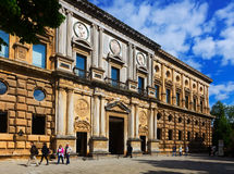 Opinião do dia do palácio de Charles V em Alhambra Imagem de Stock