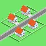 Opinião isométrica do vetor urbano do desenvolvimento da cidade Fotos de Stock Royalty Free