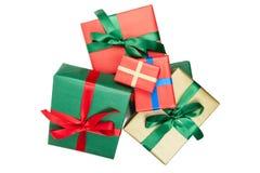 Opinião superior de presentes de Natal Foto de Stock