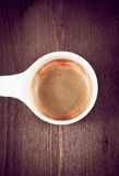 Opinião superior italiana de copo de café do café, estilo antigo Imagens de Stock