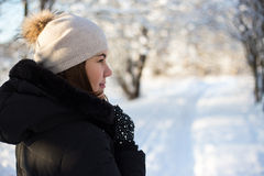 Opinião traseira a jovem mulher que anda na floresta do inverno Foto de Stock