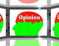 Opinion On Brain On Screen Showing Personal Opinion Royalty Free Stock Photos