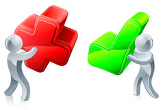 Opinion concept. Opinion poll concept of people holding red cross and green tick Stock Photo