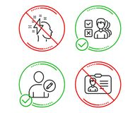 Opinion, Edit user and Brainstorming icons set. Identification card sign. Vector. Do or Stop. Opinion, Edit user and Brainstorming icons simple set royalty free illustration