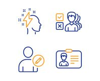 Opinion, Edit user and Brainstorming icons set. Identification card sign. Vector. Opinion, Edit user and Brainstorming icons simple set. Identification card sign stock illustration