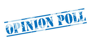 Opinion poll blue stamp. Isolated on white background Royalty Free Stock Image