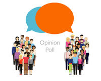 Opinion poll. Flat illustration of two groups of people and speech bubbles between them Stock Photography