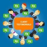 Opinione di servizio di risposte del consumatore di testimonianze del cliente illustrazione di stock
