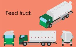 Opiniones coloreadas y múltiples del camión de la alimentación libre illustration