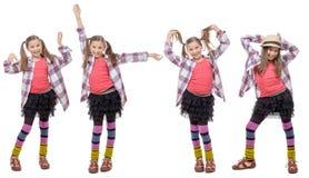 Opiniones de Fours la chica joven en estilo del inconformista, con las colas de caballo Fotos de archivo