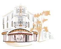Opiniones de la ciudad con los cafés acogedores Fotos de archivo