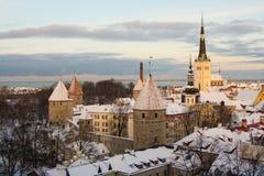 Opiniones de la tarde de Tallinn, Estonia Fotografía de archivo