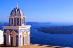 Opiniones de Santorini, Grecia Foto de archivo