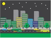 Opiniones del ‹del †del ‹del †de la ciudad sobre una noche clara ilustración del vector