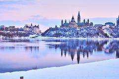 Opiniones del invierno de Canadá durante día imagen de archivo