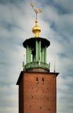 Opiniones del primer de la torre Stadshuset del ` s de ayuntamiento en Estocolmo, Suecia Foto de archivo