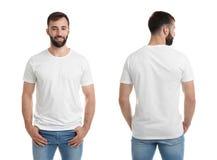 Opiniones delanteras y traseras el hombre joven en camiseta en blanco imagen de archivo