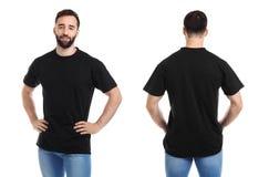 Opiniones delanteras y traseras el hombre joven en camiseta negra fotos de archivo libres de regalías