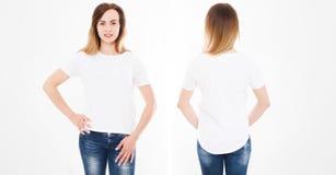 Opiniones delanteras y traseras la mujer atractiva joven en camiseta elegante en el fondo blanco Mofa para arriba para el diseño  foto de archivo libre de regalías