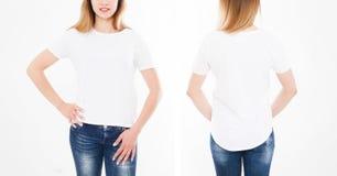 Opiniones delanteras y traseras la mujer bonita, muchacha en camiseta elegante en el fondo blanco Mofa para arriba para el diseño fotos de archivo