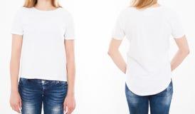 Opiniones delanteras y traseras la mujer bonita, muchacha en camiseta en los vagos blancos foto de archivo