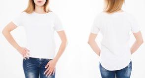 Opiniones delanteras y traseras la mujer bonita, muchacha en camiseta en los vagos blancos fotografía de archivo
