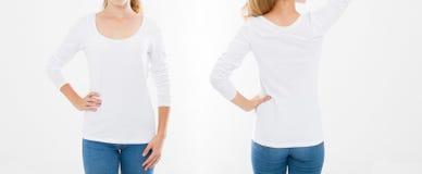 Opiniones delanteras y traseras la mujer caucásica joven de la muchacha en camiseta elegante en el fondo blanco Mofa para arriba  foto de archivo libre de regalías