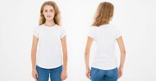 Opiniones delanteras y traseras la mujer caucásica joven de la muchacha en camiseta elegante en el fondo blanco Mofa para arriba  imagen de archivo