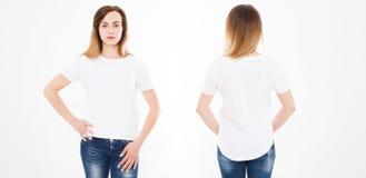 Opiniones delanteras y traseras la mujer joven en camiseta elegante en el fondo blanco Mofa para arriba para el diseño Copie el e fotografía de archivo