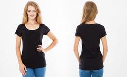 Opiniones delanteras y traseras la mujer joven en camiseta negra elegante en el fondo blanco Mofa para arriba para el diseño Copi imágenes de archivo libres de regalías
