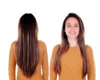 Opiniones delanteras y traseras una muchacha del teenger con el pelo largo Foto de archivo libre de regalías