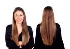 Opiniones delanteras y traseras una muchacha del teenger con el pelo largo Imágenes de archivo libres de regalías