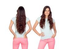 Opiniones delanteras y traseras una muchacha del teenger con el pelo largo Imagen de archivo libre de regalías