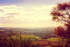 Opiniones escénicas de la puesta del sol del estilo retro del filtro que pasan por alto Barossa Valley fotografía de archivo libre de regalías