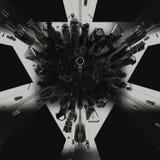 Opiniones futuristas oscuras de la ciudad del top representación 3d Foto de archivo