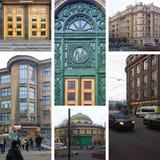 Opiniones hermosas de la ciudad de las calles de los megapolis europeos St Petersburg, Rusia Foto de archivo