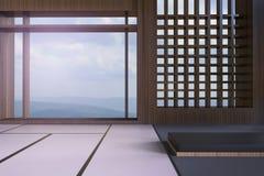 Opiniones japonesas modernas simples de la sala de estar y de la ventana de las montañas y del cielo foto de archivo